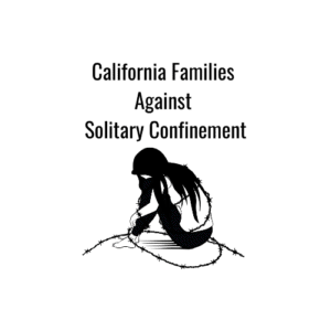 California Families Against Solitary Confinement Logo with Young Woman draped in barbed wire